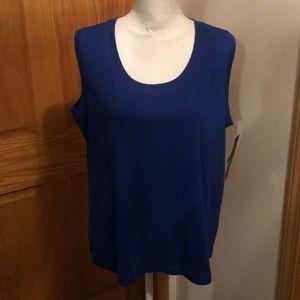 Rafaella NWT Size 2X Solid Blue Scoop Neck Blouse